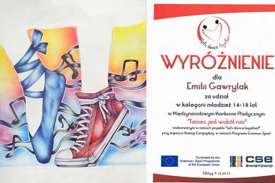 Wyróźnienie dla Emilii Gawrylak w Miedzynarodowym Konkursie Plastycznym 'Taniec jest wokół'